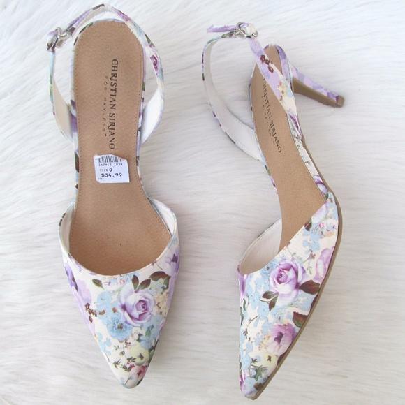 20678f33f3d Floral Print Sling Back Low Heels Size 9